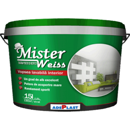 MISTER WEISS Vopsea lavabila alba pentru interior 30L