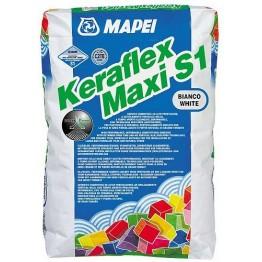 Adeziv flexibil pentru gresie si faianta Mapei Keraflex Maxi S1 alb 23kg