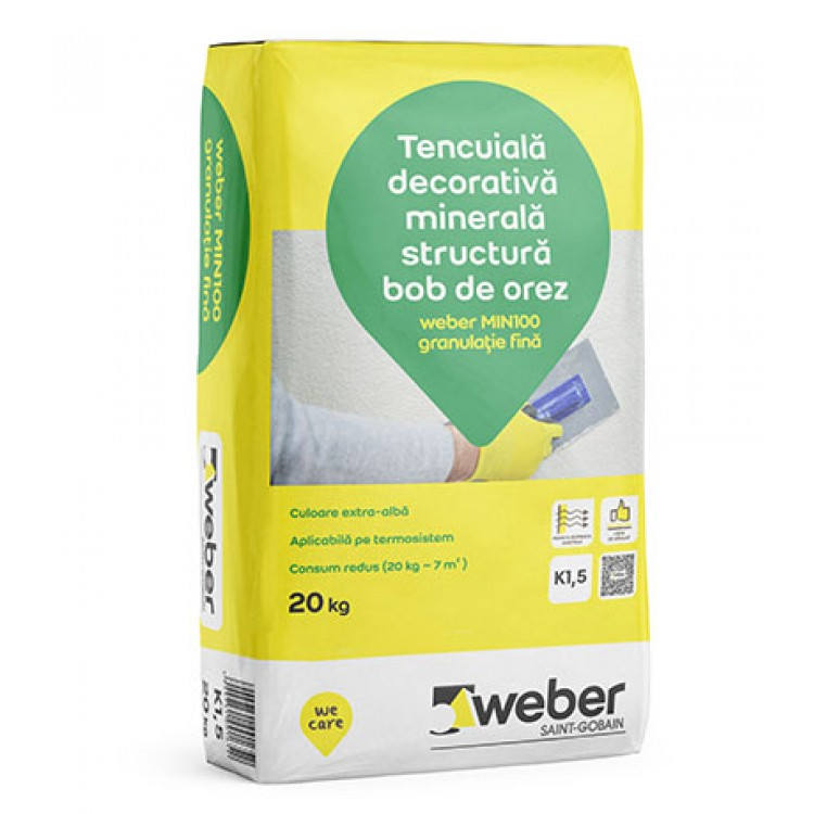 Tencuiala Decorativa Exterior La Sac.Tencuiala Decorativa Minerala Structura Bob De Orez Weber Min100 K1