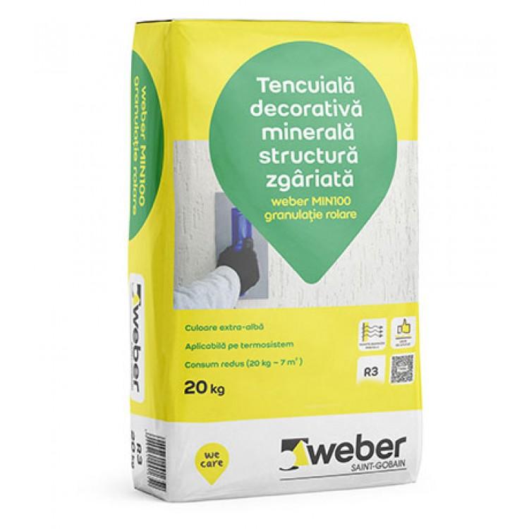 Tencuiala Decorativa Weber.Tencuiala Decorativa Minerala Structura Zgariata Weber Min100 R3