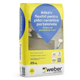 Adeziv flexibil pentru placari ceramice la interior si exterior weberset portelanat max²